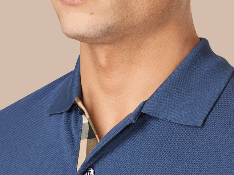 Light steel blue Check Placket Cotton Piqué Polo Shirt Light Steel Blue - cell image 1