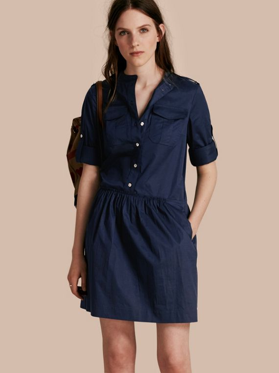 Military-inspired Cotton Blend Shirt Dress Dark Pewter Blue