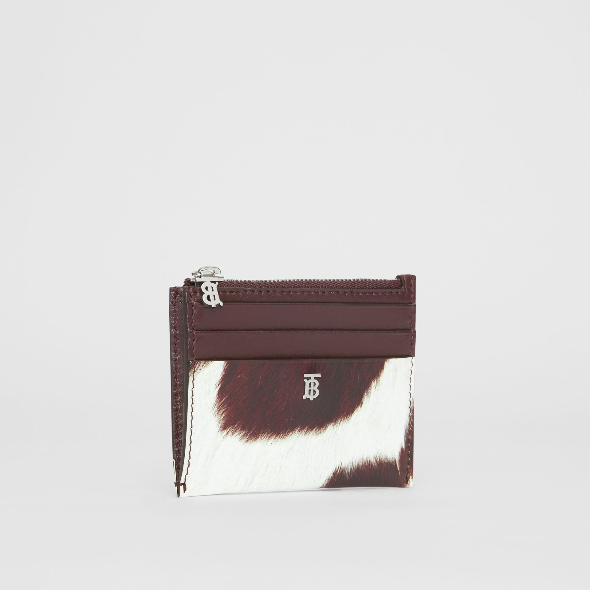 Cow Print Leather Zip Card Case in Mahogany - Women | Burberry - gallery image 3
