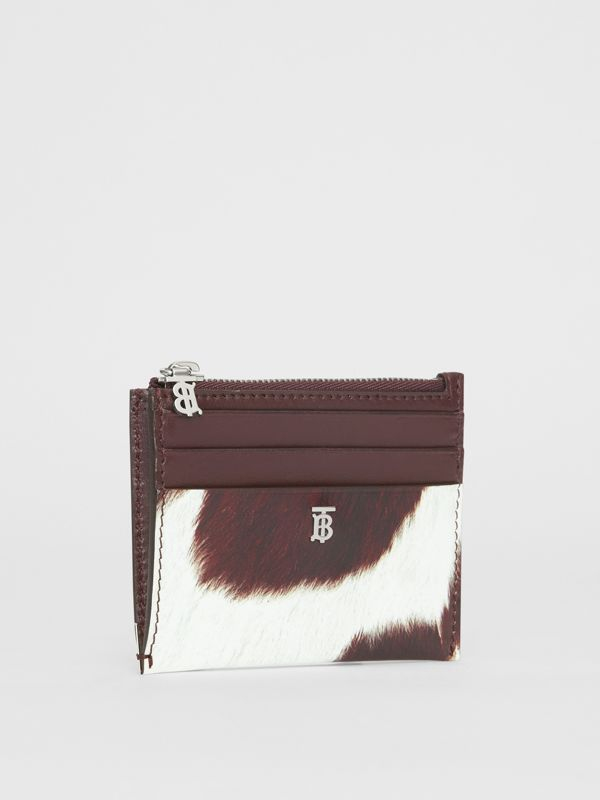Cow Print Leather Zip Card Case in Mahogany - Women | Burberry - cell image 3