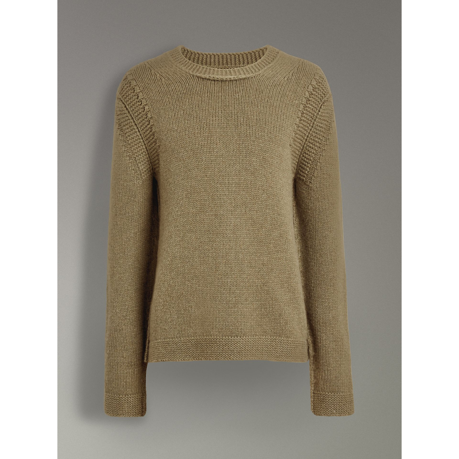 Link Stitch Detail Cashmere Sweater in Clay Green - Men | Burberry - gallery image 3