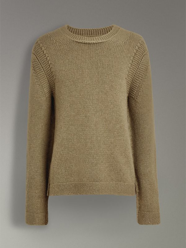 Link Stitch Detail Cashmere Sweater in Clay Green - Men | Burberry - cell image 3