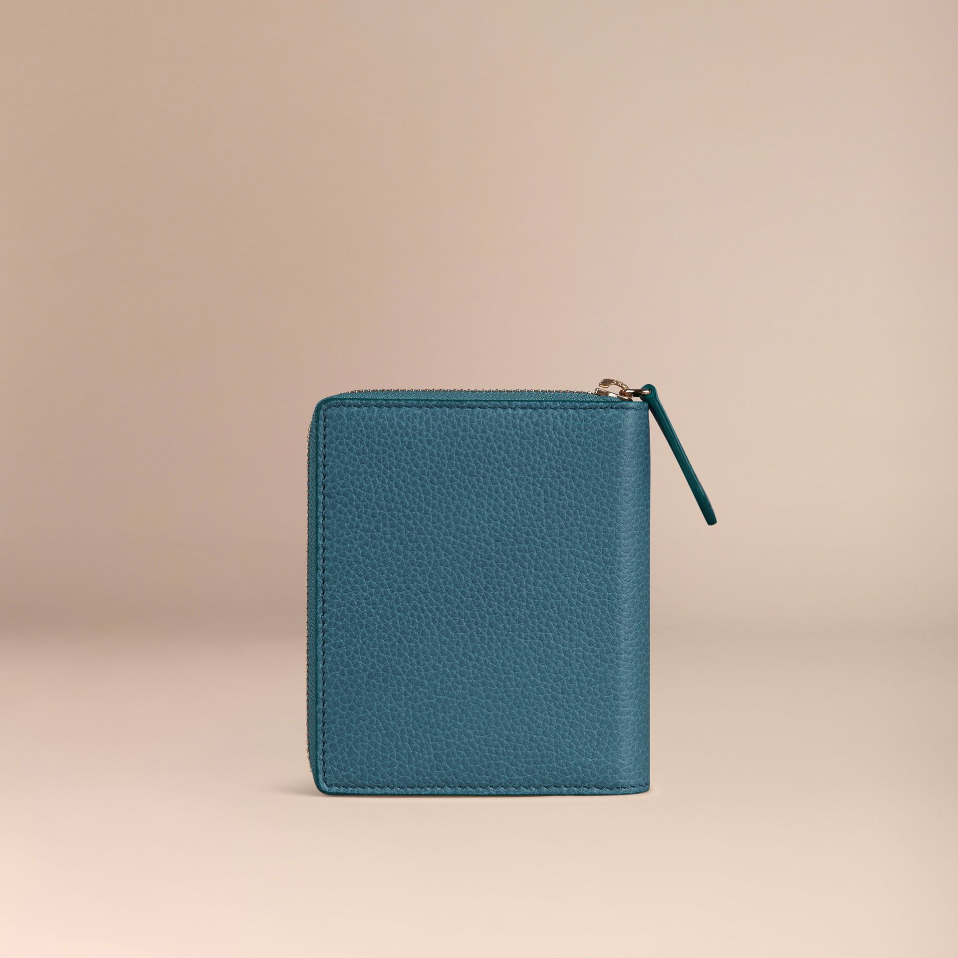 Ziparound Grainy Leather Mini Notebook in Dusty Teal - gallery image 4