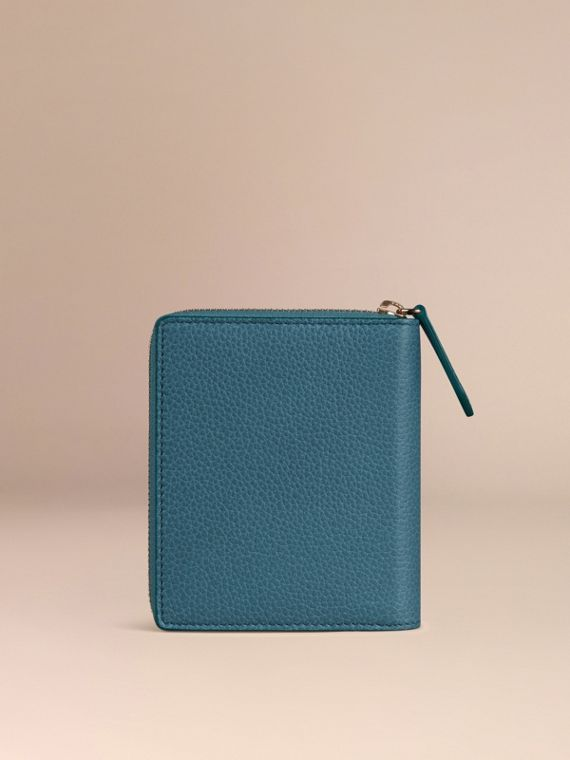 Ziparound Grainy Leather Mini Notebook in Dusty Teal | Burberry - cell image 3