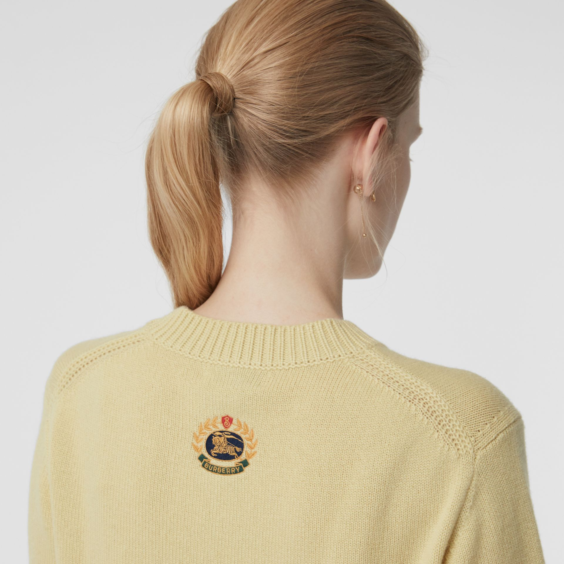Archive Logo Appliqué Cashmere Sweater in Dusty Yellow - Women | Burberry Canada - gallery image 1