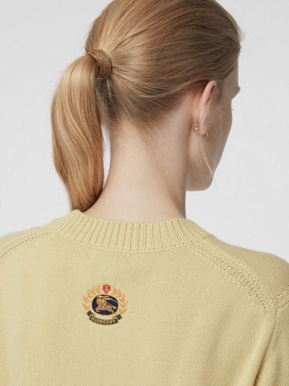 Archive Logo Appliqué Cashmere Sweater in Dusty Yellow - Women | Burberry - cell image 1
