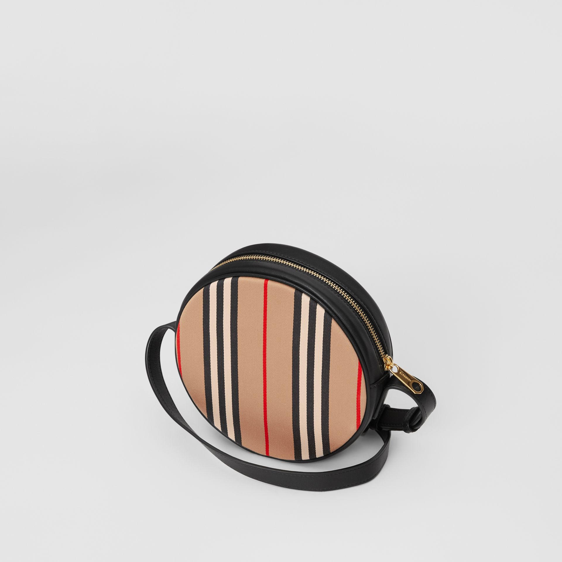 Icon Stripe Cotton Crossbody Bag in Honey/black - Children | Burberry United Kingdom - gallery image 2