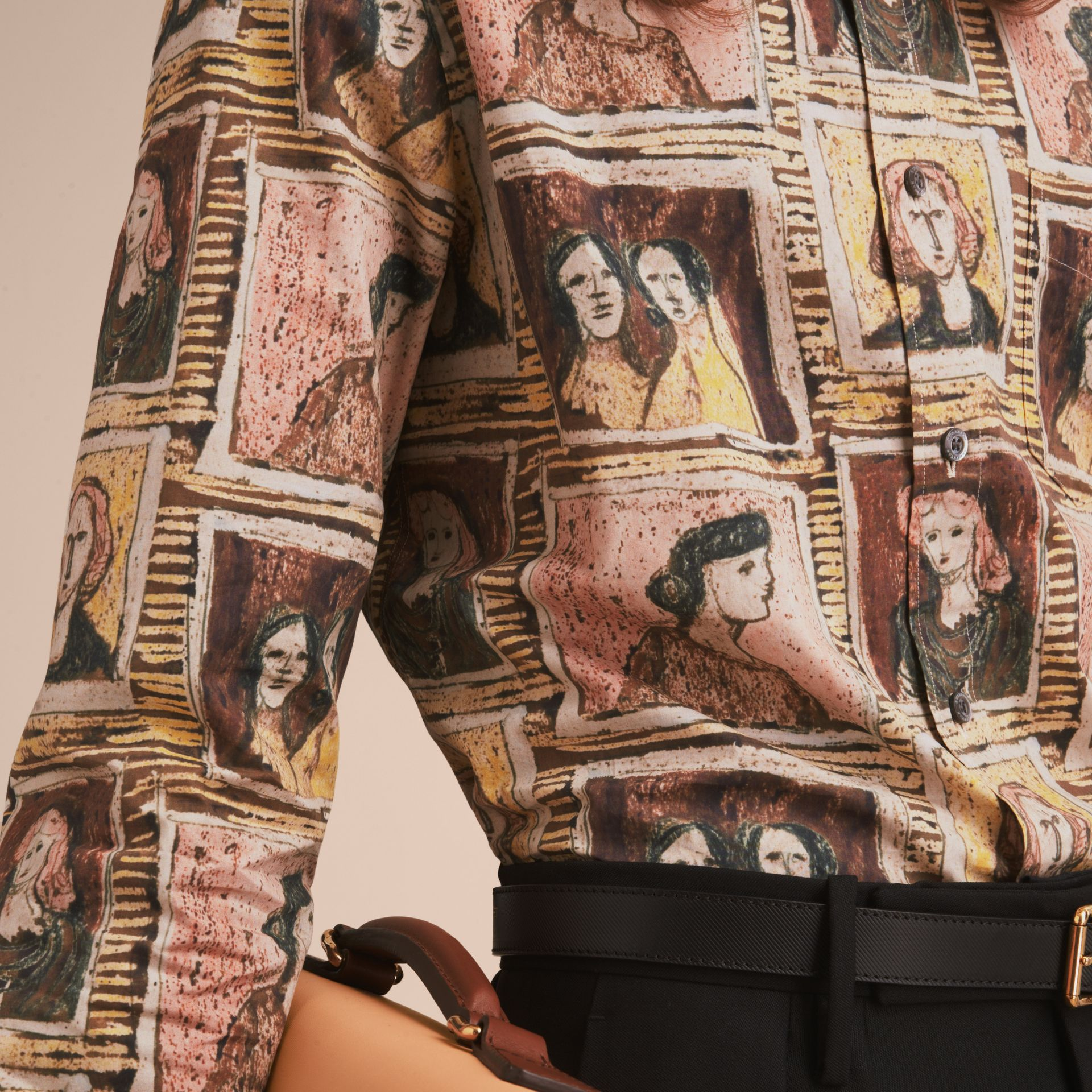Framed Heads Print Cotton Shirt in Umber Brown - Men | Burberry - gallery image 5