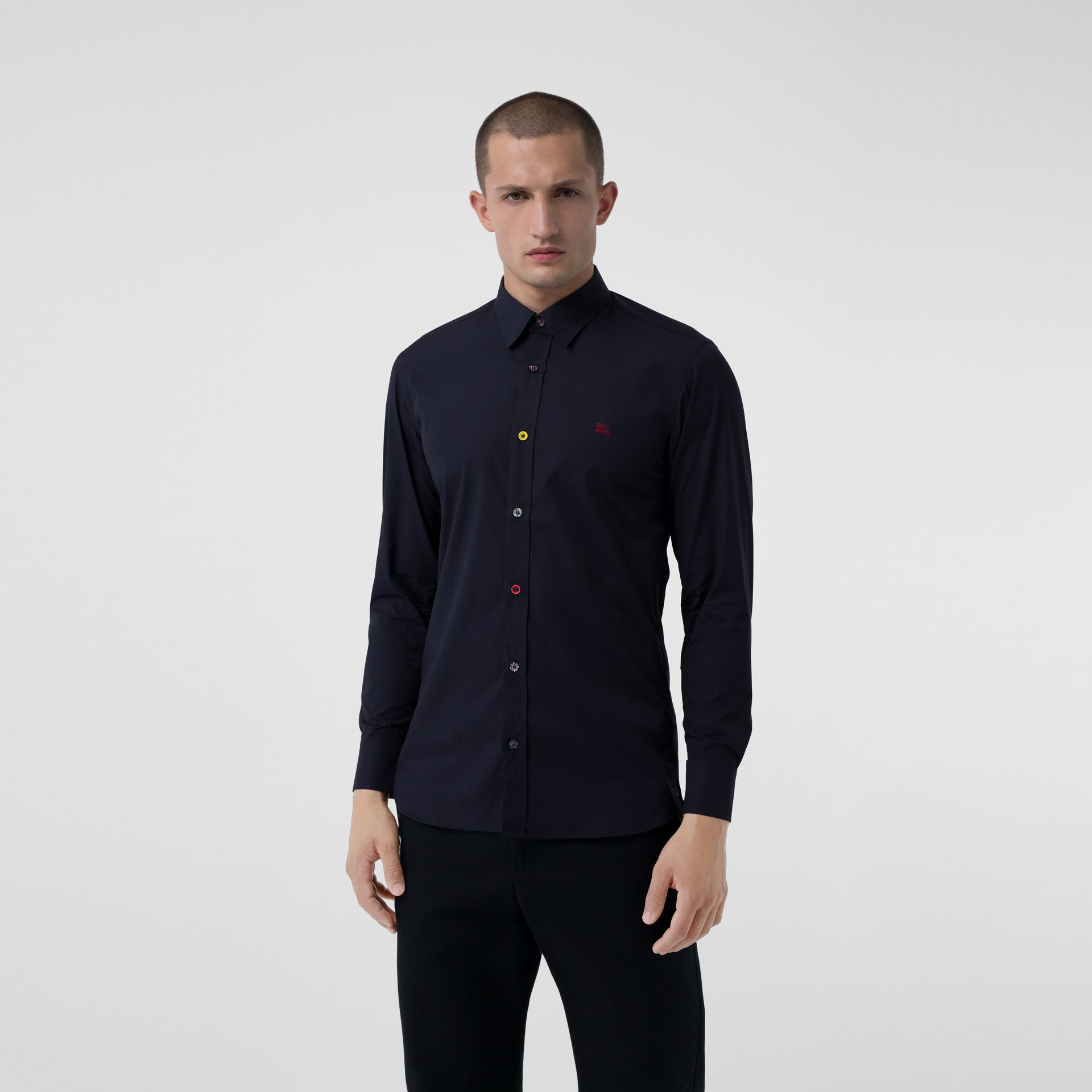 Contrast Button Stretch Cotton Shirt in Navy - Men | Burberry Australia - gallery image 0