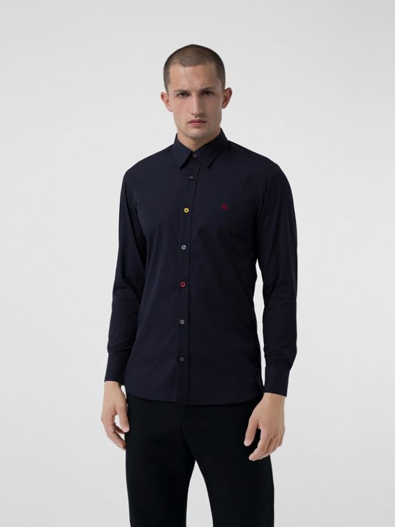 Contrast Button Stretch Cotton Shirt in Navy
