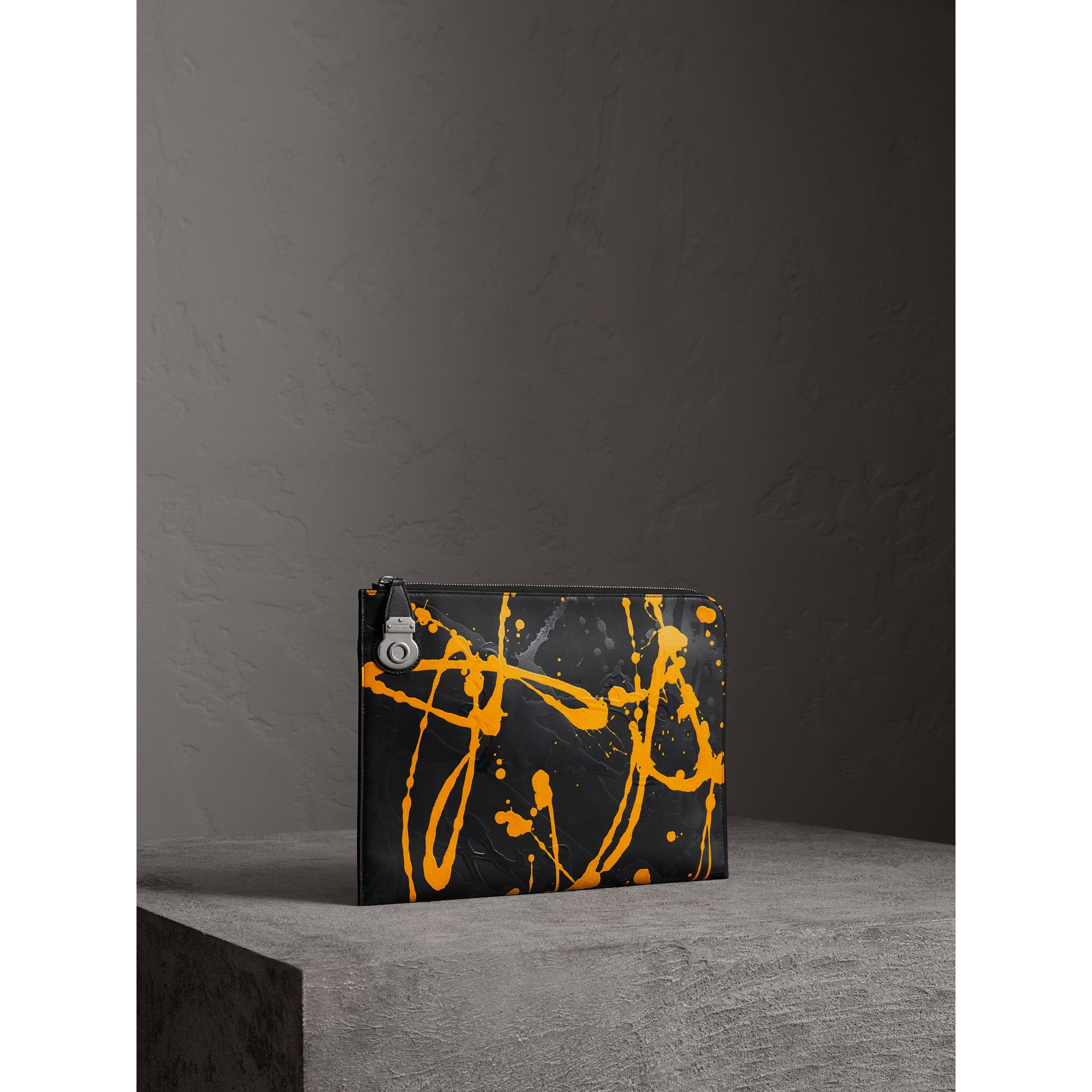 Splash Trench Leather Document Case in Black/yellow - Men | Burberry - gallery image 5