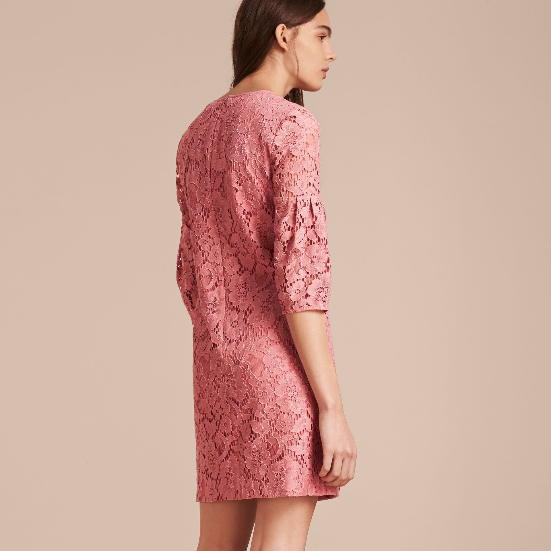 Puff-sleeved Floral Lace Shift Dress Antique Rose - gallery image 3