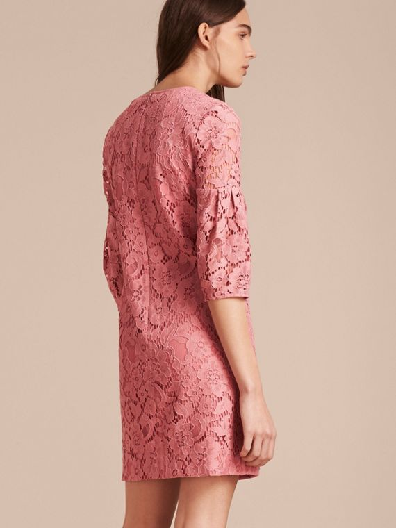 Puff-sleeved Floral Lace Shift Dress Antique Rose - cell image 2