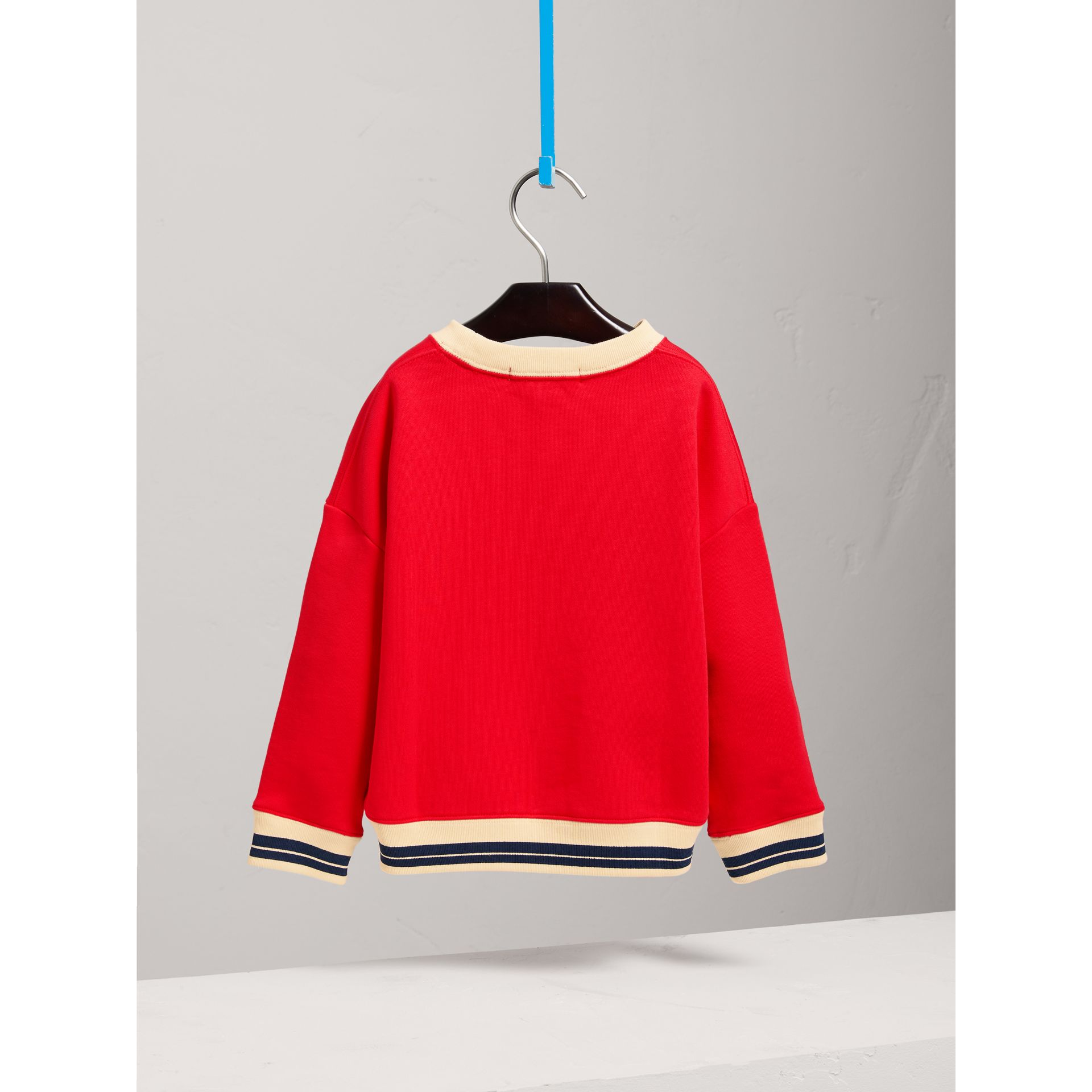 Striped Hem Embroidered Cotton Jersey Sweatshirt in Bright Orange Red - Girl | Burberry - gallery image 3