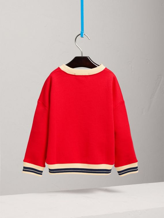 Striped Hem Embroidered Cotton Jersey Sweatshirt in Bright Orange Red - Girl | Burberry - cell image 3