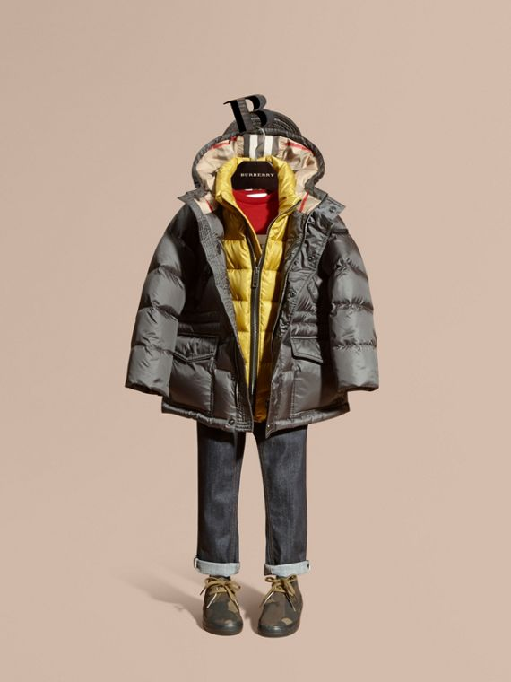 Down-Filled Hooded Puffer Coat Mid Grey