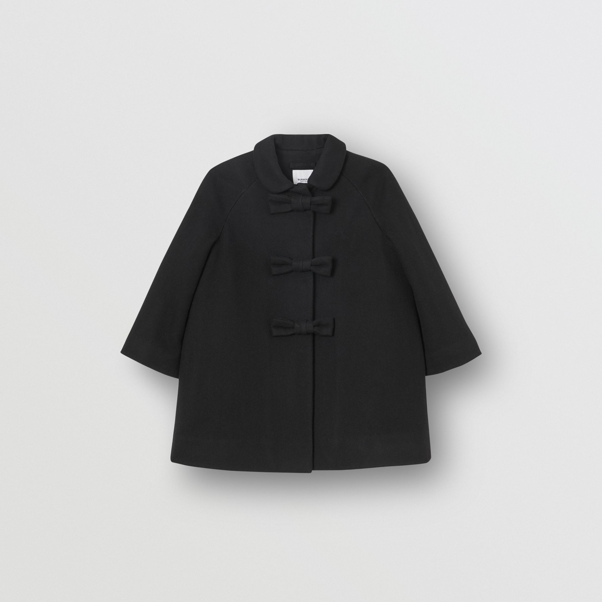 Embellished Melton Wool Swing Coat in Black | Burberry United Kingdom - gallery image 0
