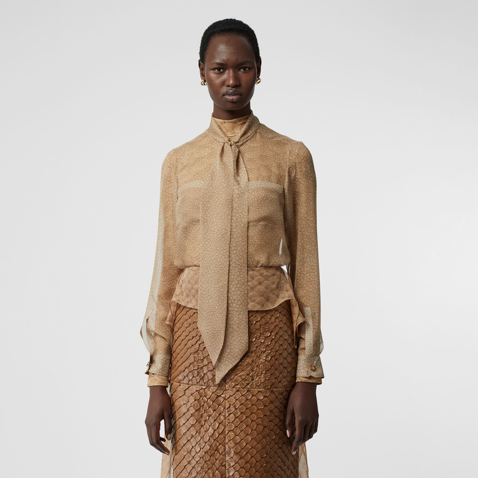 Fish-scale Print Silk Oversized Pussy-bow Blouse in Light Sand - Women | Burberry - gallery image 5