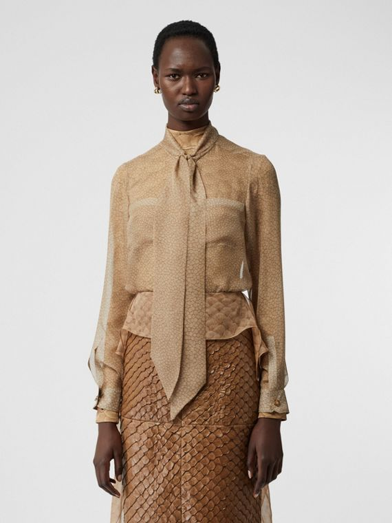 Fish-scale Print Silk Oversized Pussy-bow Blouse in Light Sand