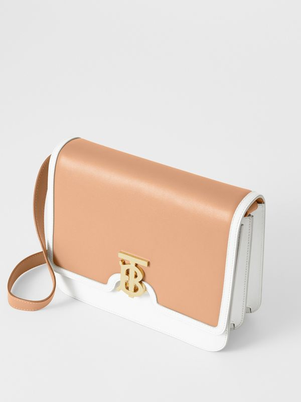 Medium Two-tone Leather TB Bag in Chalk White/light Camel - Women | Burberry - cell image 3