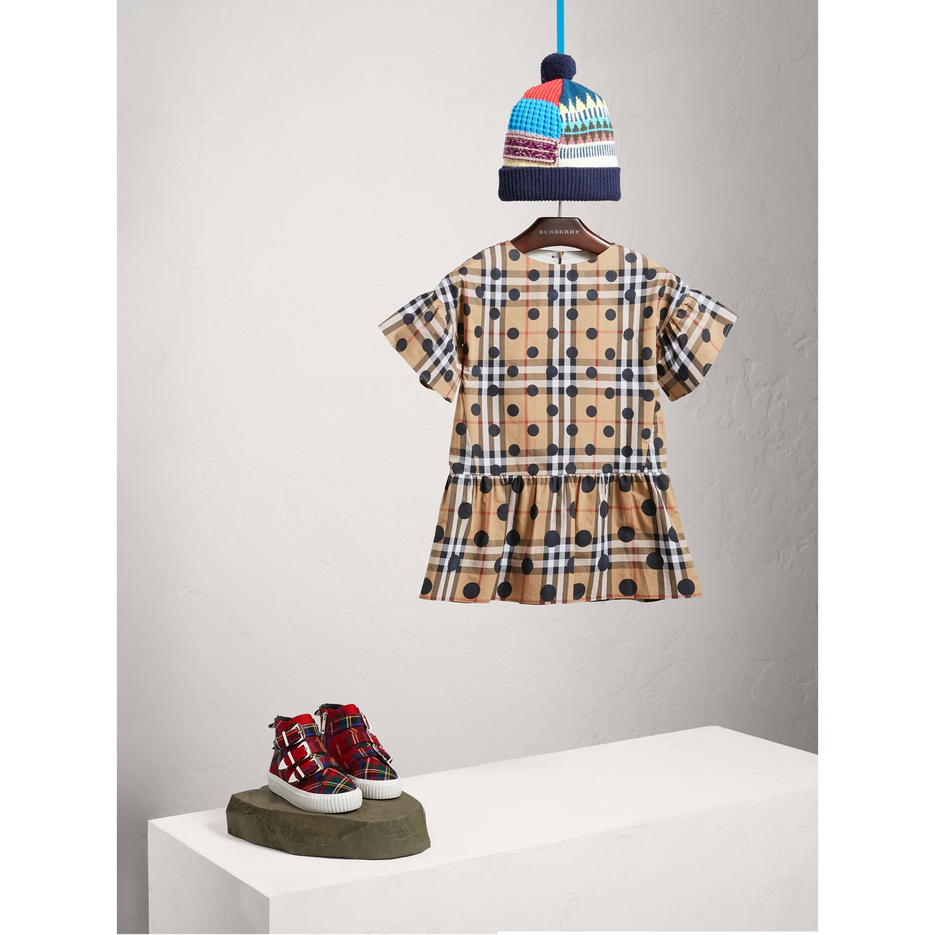 Gathered Polka-dot Check Cotton Dress in Navy - Girl | Burberry - gallery image 1