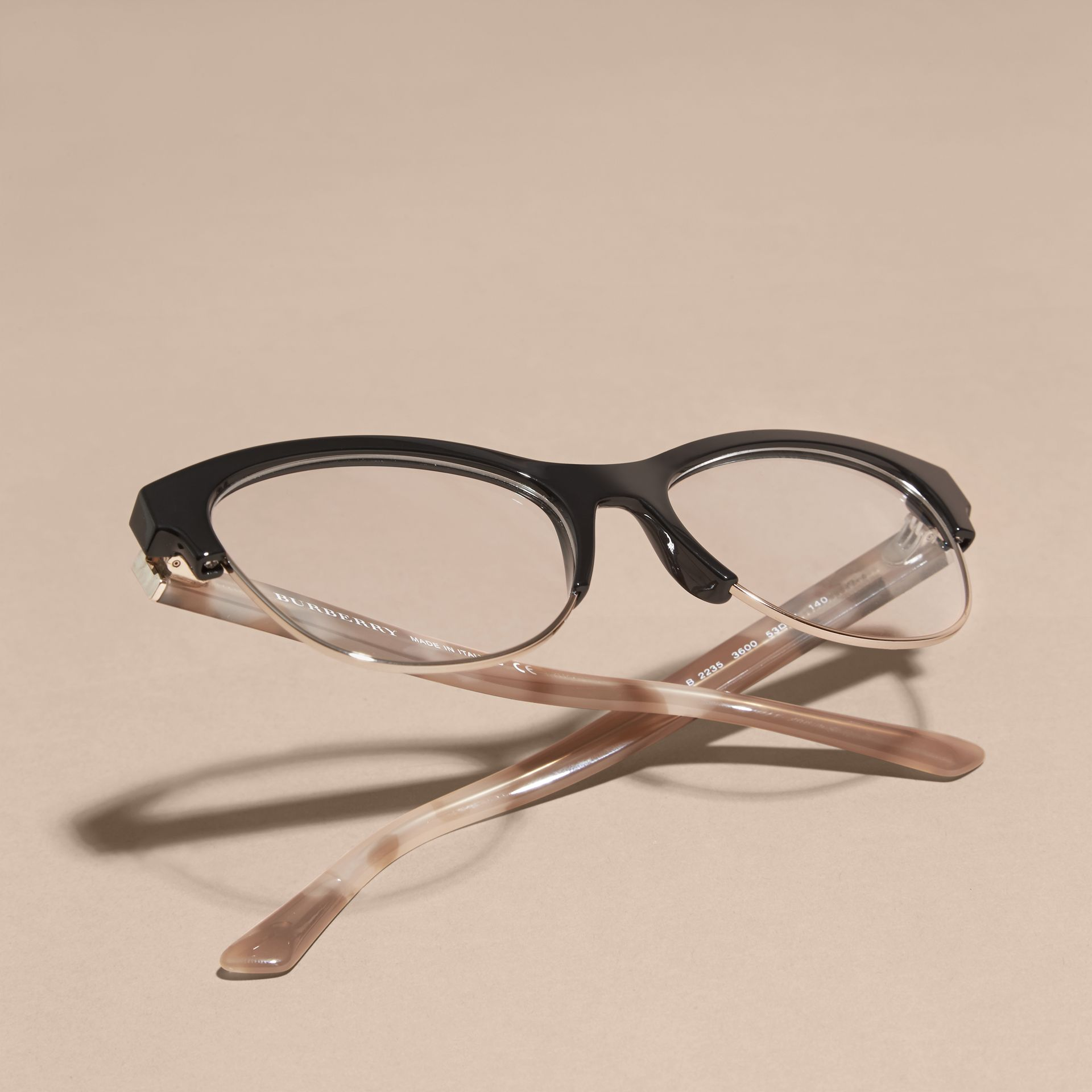 Black Half-rimmed Cat-eye Optical Frames Black - gallery image 5