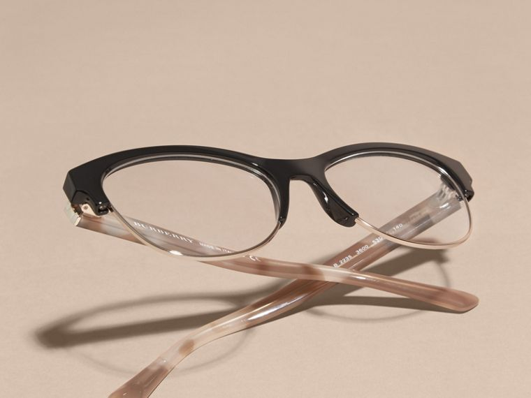 Black Half-rimmed Cat-eye Optical Frames Black - cell image 4
