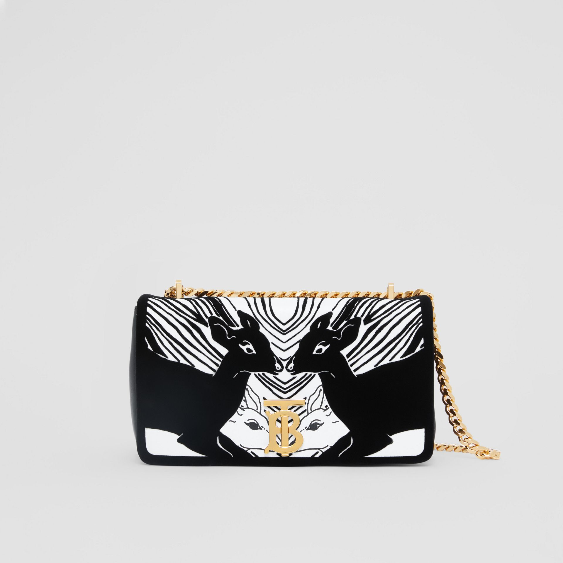 Small Deer Flock Leather Lola Bag in Black/white - Women | Burberry - gallery image 0
