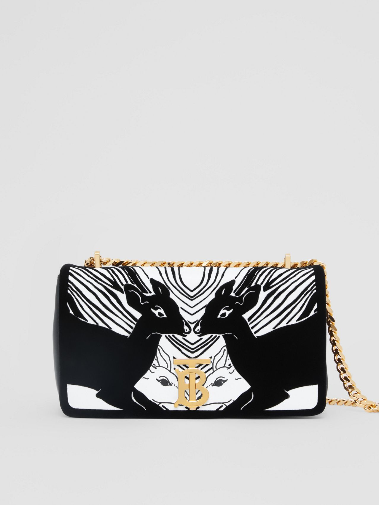 Small Deer Flock Leather Lola Bag in Black/white