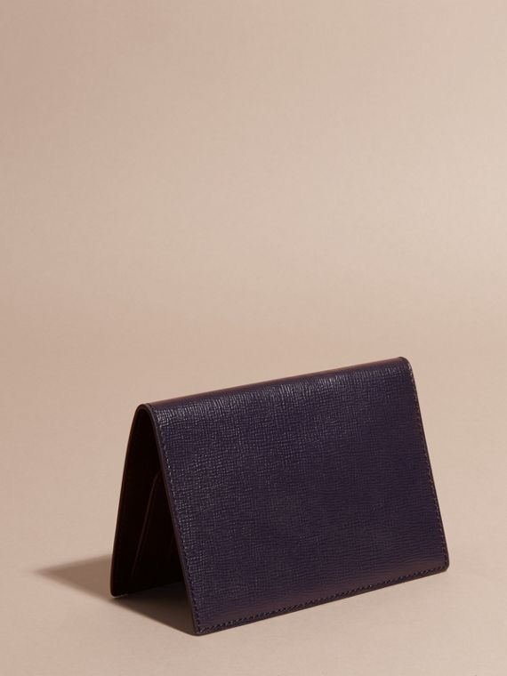 London Leather Passport and Card Holder in Dark Navy - Men | Burberry - cell image 3