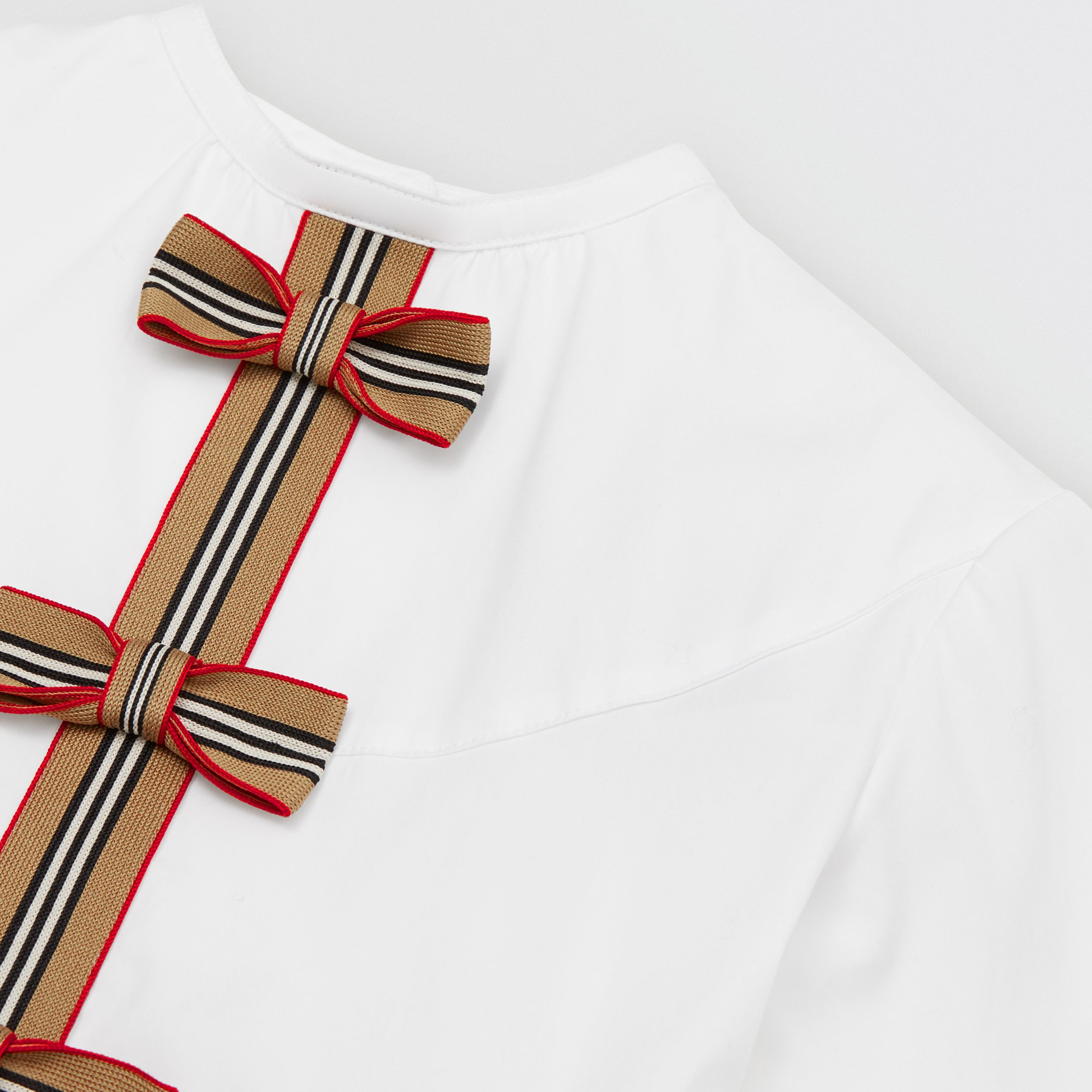 Icon Stripe Trim Stretch Cotton Poplin Dress in White | Burberry - 2