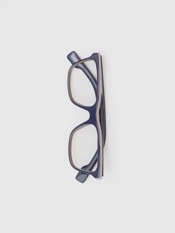 Icon Stripe Detail Rectangular Optical Frames in Blue - Men | Burberry - cell image 3