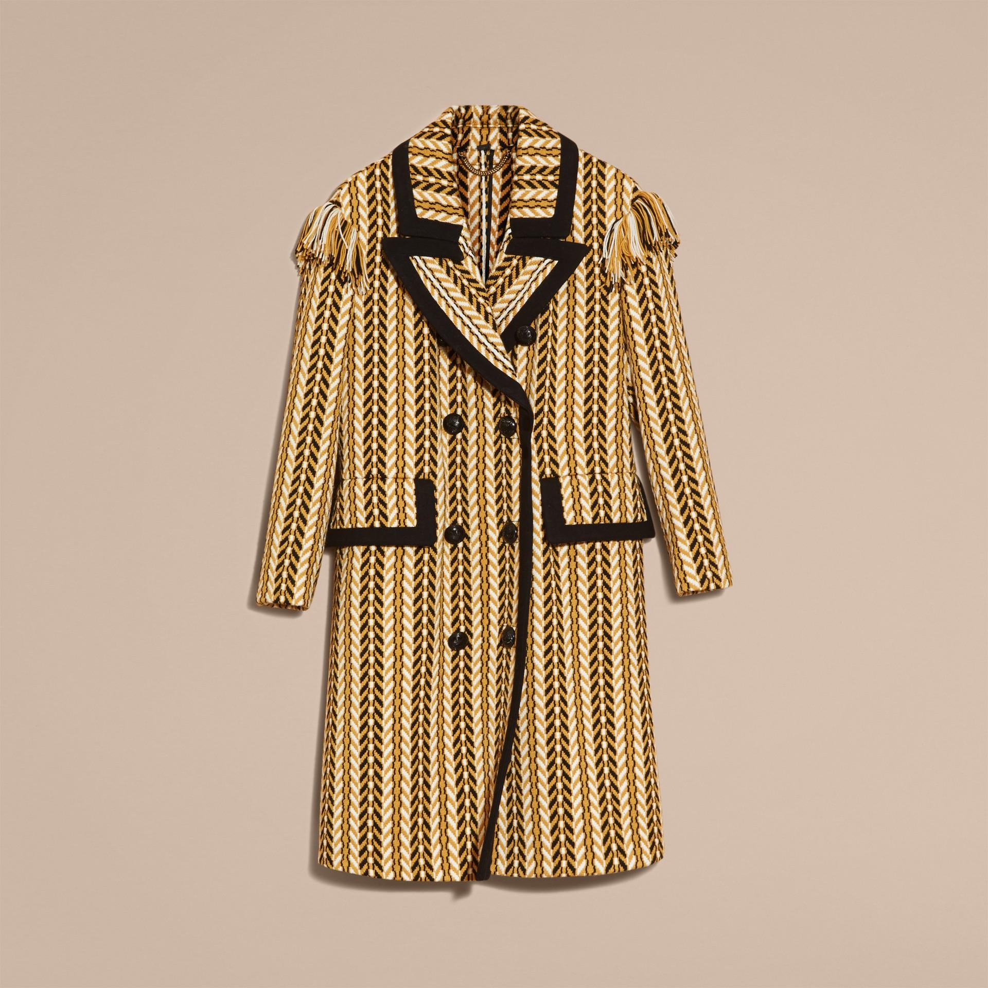 Giallo ocra Il cappotto frangiato - immagine della galleria 5