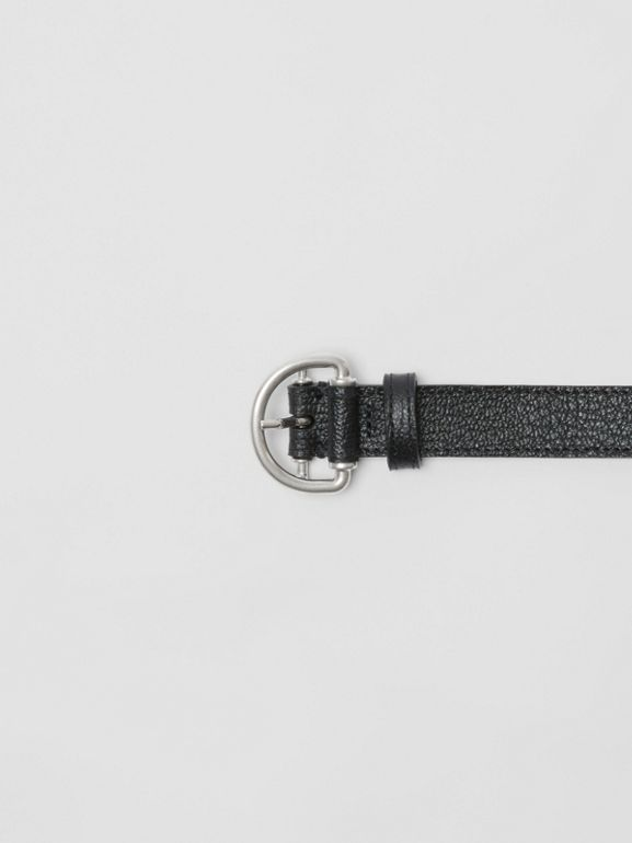 Grainy Leather D-ring Belt in Black/sea Green - Women | Burberry - cell image 1