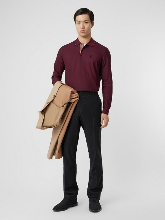 Long-sleeve Monogram Motif Cotton Piqué Polo Shirt in Burgundy