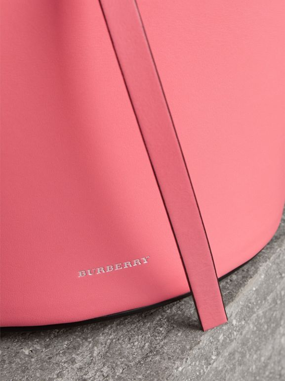 The Small Leather Bucket Bag in Bright Coral Pink - Women | Burberry Australia - cell image 1