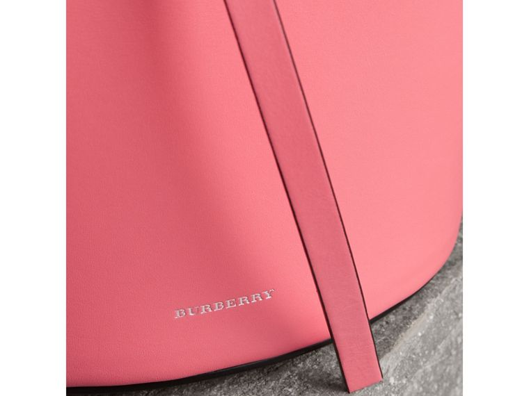 The Small Leather Bucket Bag in Bright Coral Pink - Women | Burberry - cell image 1