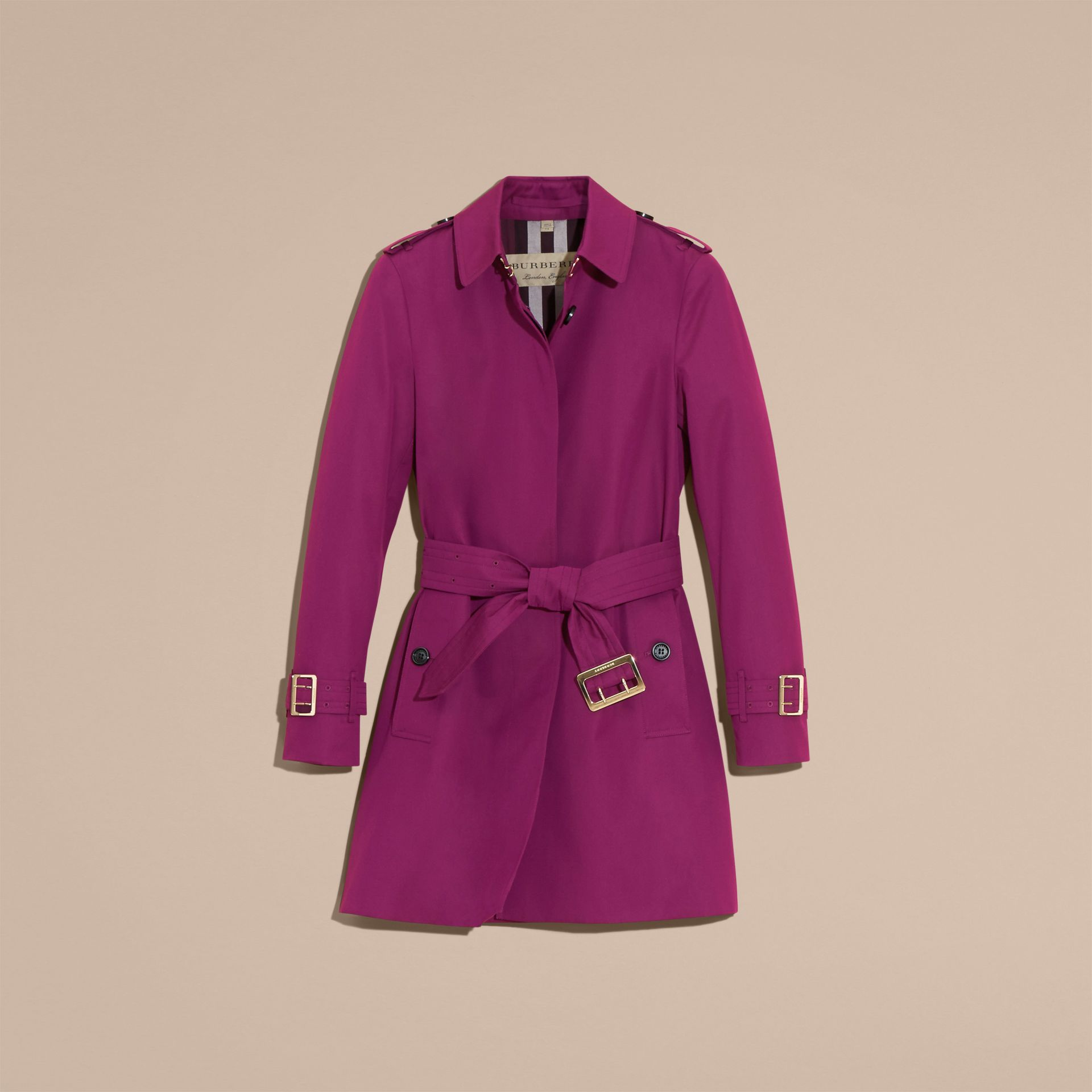 Single-breasted Trench Coat with Metal Buckle Detail Magenta Pink - gallery image 4