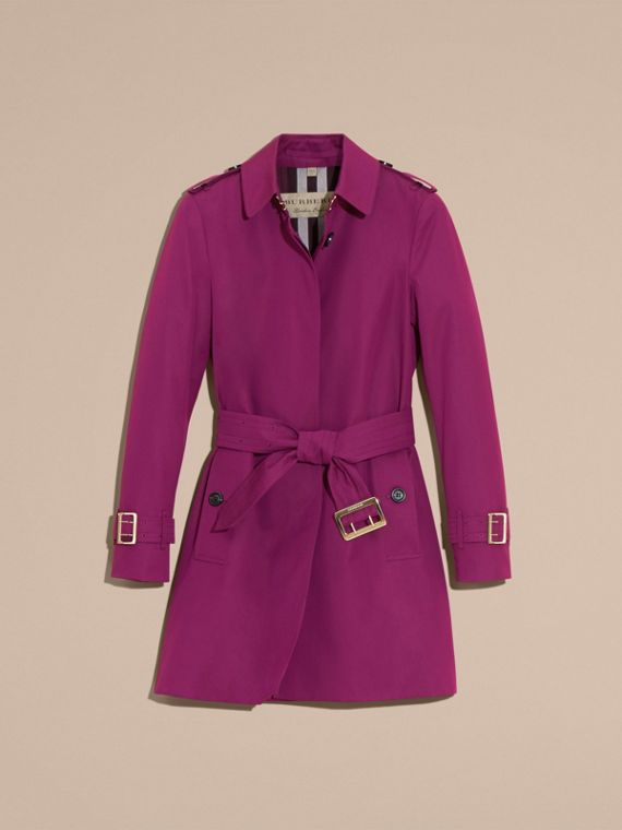 Single-breasted Trench Coat with Metal Buckle Detail Magenta Pink - cell image 3
