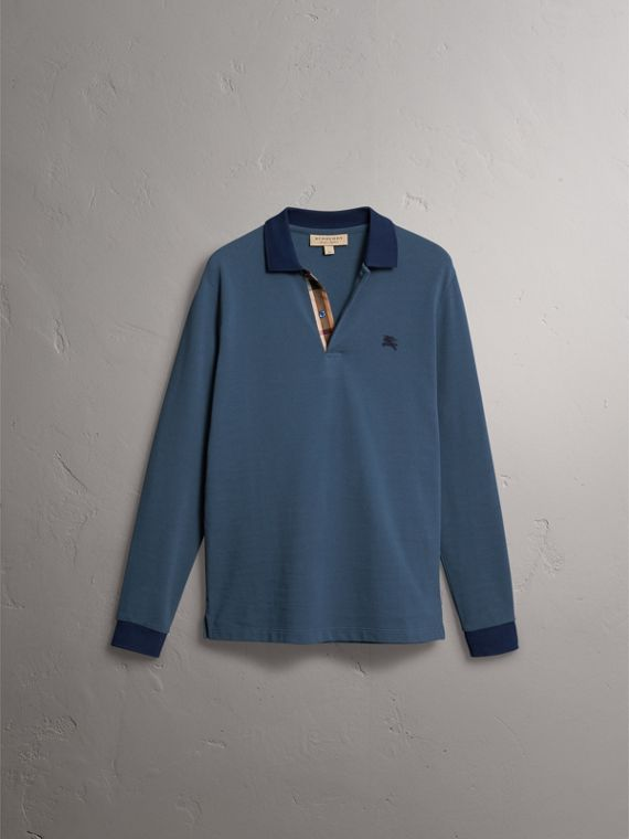 Long-sleeve Cotton Piqué Polo Shirt in Canvas Blue - Men | Burberry - cell image 3