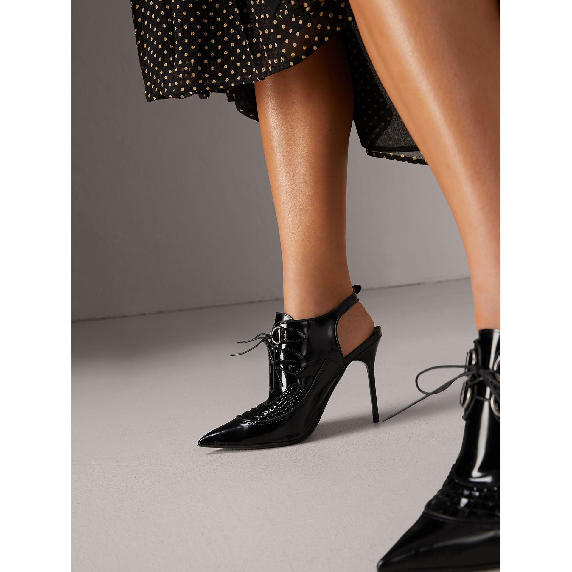 D-ring detail Leather Slingback Pumps in Black - Women | Burberry - gallery image 2