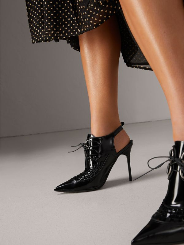 D-ring detail Leather Slingback Pumps in Black - Women | Burberry - cell image 2