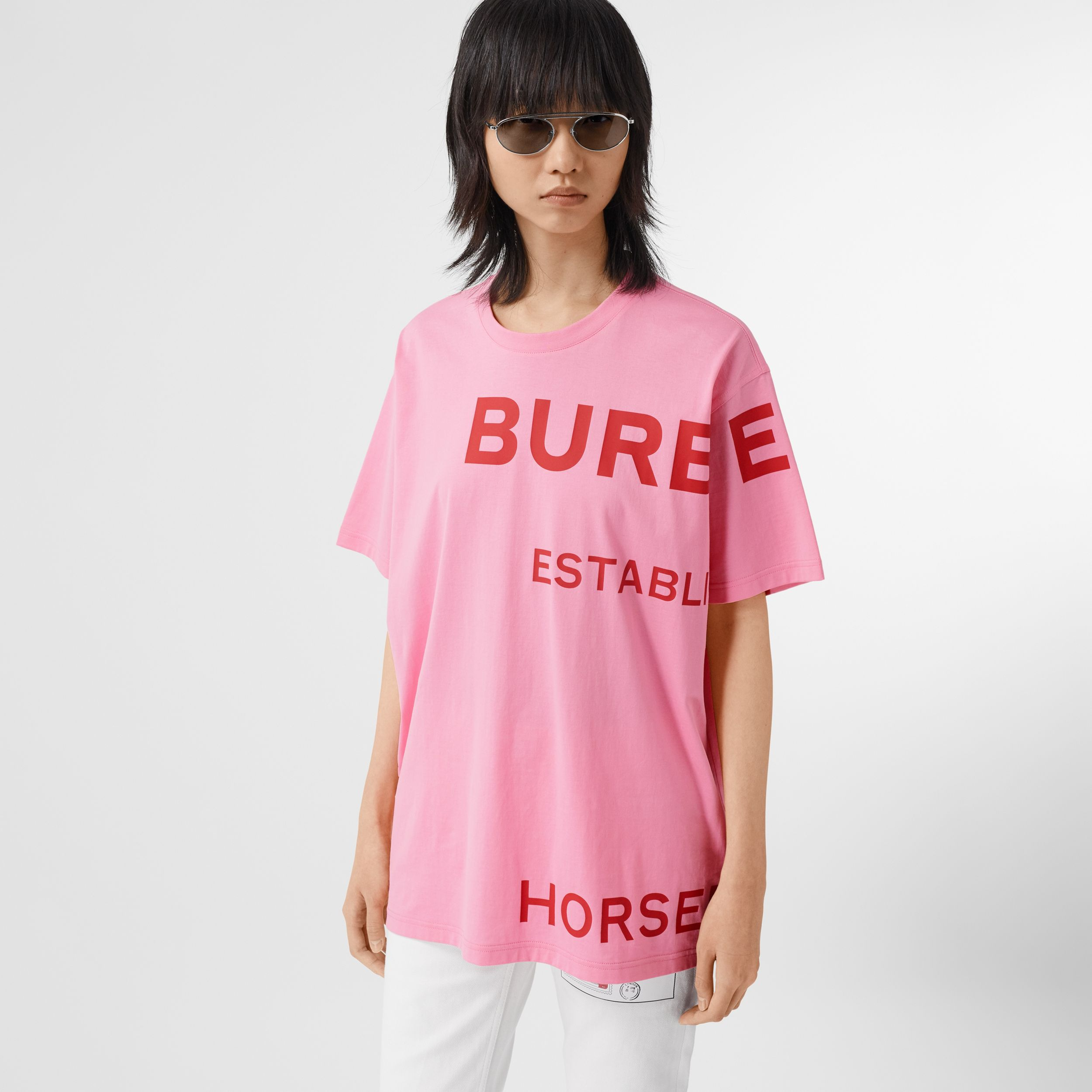 Horseferry Print Cotton Oversized T-shirt in Bubblegum Pink - Women | Burberry Singapore - 1