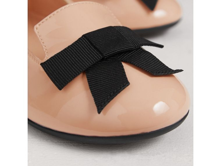 Bow Detail Patent Leather Ballerinas in Apricot Pink | Burberry - cell image 1