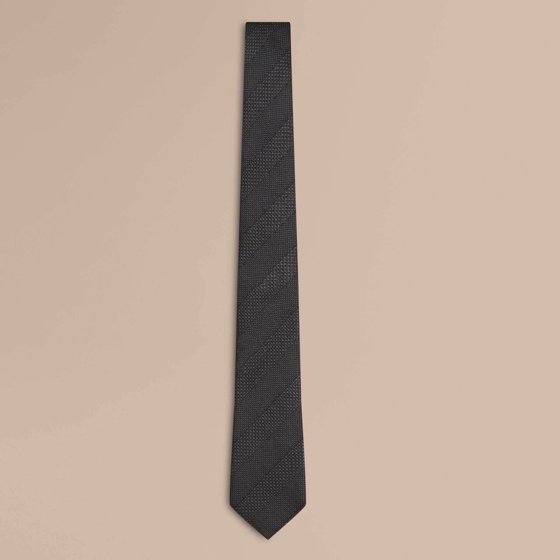 Charcoal Modern Cut Striped Silk Jacquard Tie Charcoal - gallery image 1
