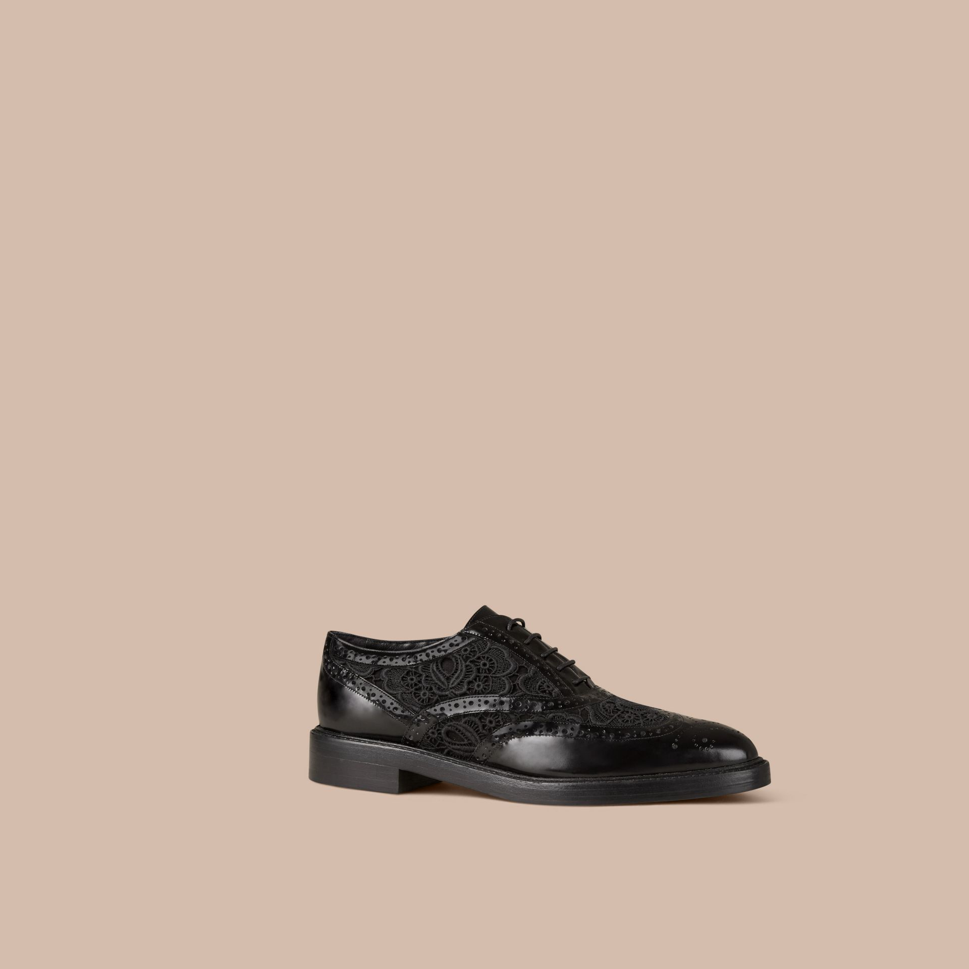 Black Leather and Lace Wingtip Brogues - gallery image 1