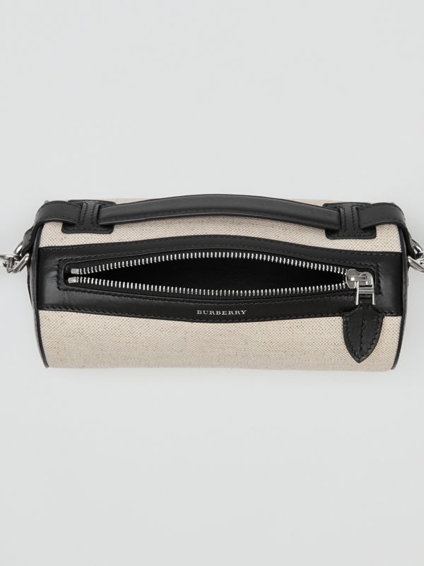 Sac The Barrel en cuir, coton et lin (Noir) - Femme | Burberry Canada - cell image 3