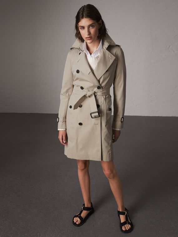 The Kensington – Long Trench Coat in Stone
