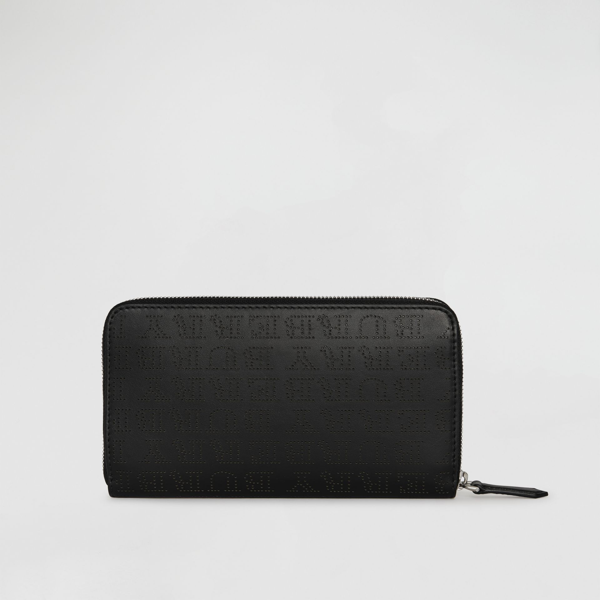 Perforated Logo Leather Ziparound Wallet in Black | Burberry - gallery image 5
