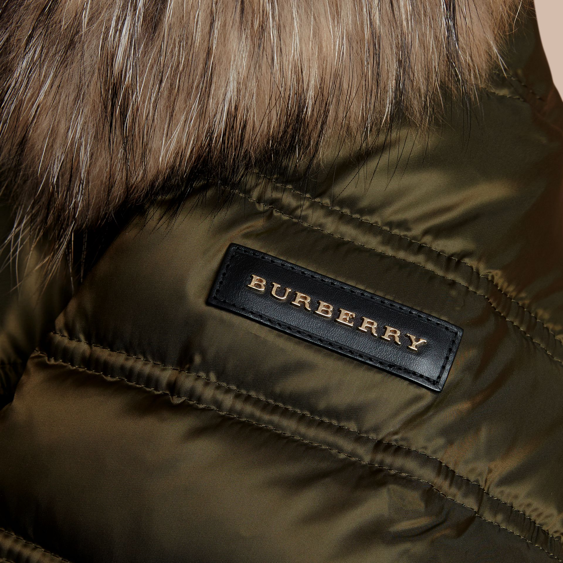 Dark olive Down-Filled Puffer Coat with Fur Trim Dark Olive - gallery image 2